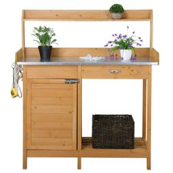 Garden Potting Bench Table Planting Work Benches Cabinet She