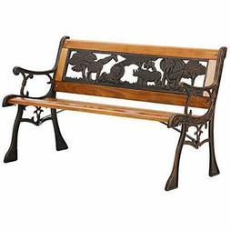 Outdoor Kids Garden Bench Park Metal Aluminum And Wood Seati