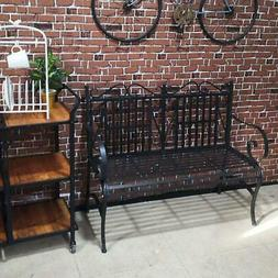 Outdoor Patio Steel Bench Durable Sturdy Home Garden Seating