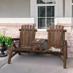 Outdoor Relaxing Double Adirondack Garden Bench w/ Natural F