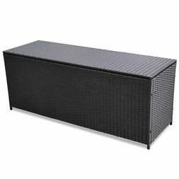 vidaXL Outdoor Storage Box Poly Rattan Black Entryway Chest