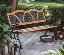 Outdoor Wood Garden Bench Porch Metal Vintage Country Rustic