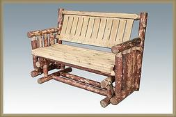 Outdoor Wood Glider LOG Bench Rustic Amish Made Patio Deck B