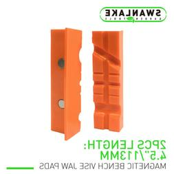 "Pair Of Magnetic Soft Pad Jaws Rubber For Metal Vise 4.5""/6"""