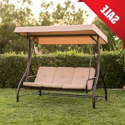 Patio Swing With Canopy 3 Seat Red Garden Outdoor Daybed Fad