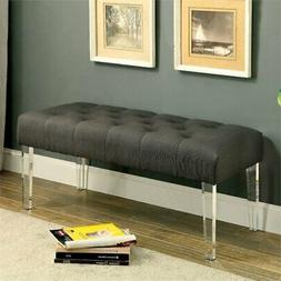 Furniture of America Paz Acrylic Bench in Gray