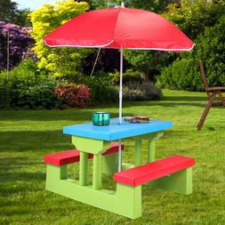 Picnic Table Kids Umbrella Play Set Outdoor Snacks Bench Chi