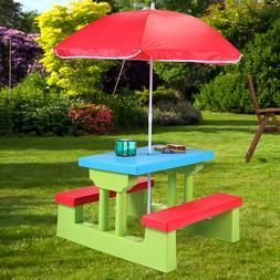 Picnic Table Kids Umbrella Play Set Outdoor Snacks Bench Chi