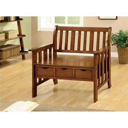 Pine Crest Bench with 3 Drawers in Oak Finish by Furniture o
