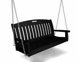 Polywood® Outdoor Furniture Nautical 4 ft Porch Swing w Hea
