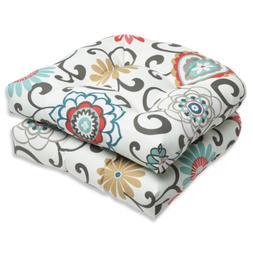 Pillow Perfect Outdoor Pom Pom Play Peachtini Wicker Seat Cu