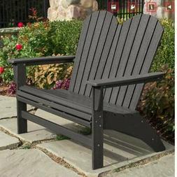 Portside Double Adirondack Bench by POLYWOOD, Patio Garden C