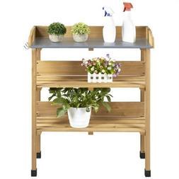 Potting Bench Table w/Metal Tabletop for Garden Workstation