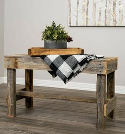 Farmhouse Barnwood Bench Table Solid Wood Reclaimed Rustic S