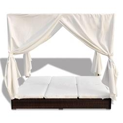 Rattan Sun Lounger With Curtains Poly For 2 People Day Bed O