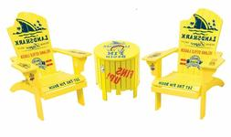 RIO Adirondack Chair Set with Outdoor Side Table with Ice Bu