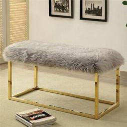 Furniture of America Saxton Large Faux Fur Bench in Gray