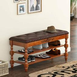 Tribesigns Shoe Bench Solid Wood Vintage 2-Tier Shoe Rack En