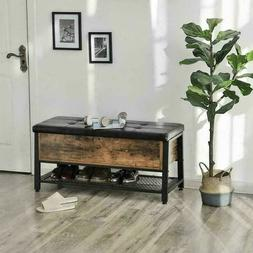 Shoe Storage Bench Hallway Bedroom Two Seater Wood Cushion M