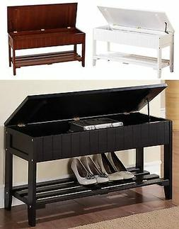Solid Wood Shoe Bench with One Rack & Storage, White, Black