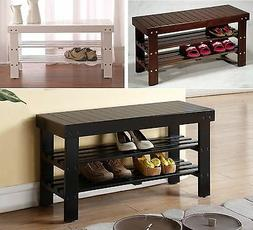Legacy Decor Solid Wood Shoe Bench with Two Racks, White, Bl