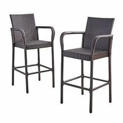 Great Deal Furniture Stewart Outdoor Bar Stool, Set of 2, Br