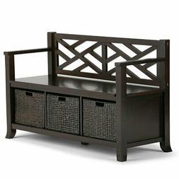 Atlin Designs Storage Bench with Basket Storage in Espresso