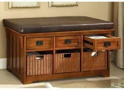 Furniture of America storage benches, Oak