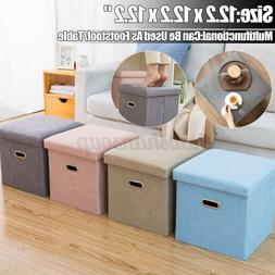 "Folding Storage Ottoman Bench-12"" Cube Fabric Collapsible Co"