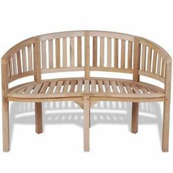 vidaXL Solid Teak Wood Bench Banana Shape 2-Seater Outdoor G