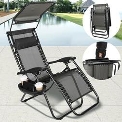 Thicken 2Pcs Zero Gravity Folding Lounge Beach Chairs W/Cano
