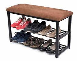 torage Shoe Rack Bench for Entryway | Brown | Cushion Seat |