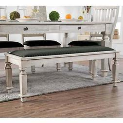 Tyler Rustic Antique White Dining Bench by FOA Antique White