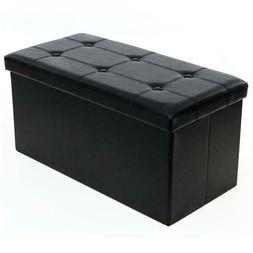 Unfold Leather Storage Ottoman Bench Footstool Seat Coffee C