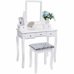 Vanities Vanity Benches Set With Mirror Cushioned Stool Tabl