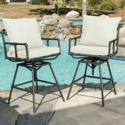 Varick Outdoor Adjustable Iron Barstool with Cushions
