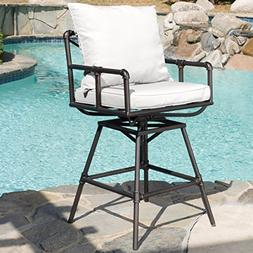 Varick Pipe Outdoor Adjustable Barstool with Cushions
