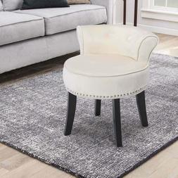 Elegant Velvet Accent Dressing Chair Padded Cushion Rivet So