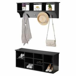 Bizzoelife Wall Mounted Coat Rack and Entryway Storage Bench