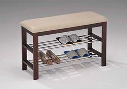 Legacy Decor Walnut and Beige Wood Shoe Bench with Two Metal