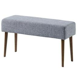 Wassu Mid Century Fabric Upholstered & Wood Bench in Grey Bl
