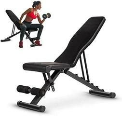 Weight Bench Adjustable Flat Incline Decline Exercise Workou