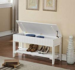 White Cherry Finish Wooden Shoe Bench Organizer Flip Top Sto