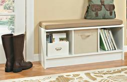 White ClosetMaid Cube Storage Bench with Seat Cushion Entryw