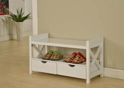King's Brand White Finish Wood Shoe Storage Bench With Drawe