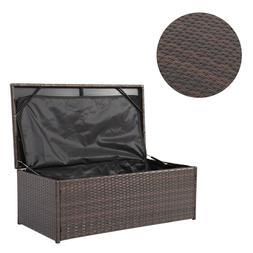 Wicker Outdoor Patio Garden Storage Bench Bin Deck Box Pool