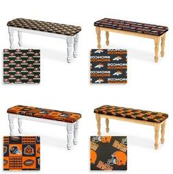 Wood Dining Bench White or Natural Finish w/ NFL Theme Padde