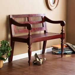 Wooden Indoor Bench Mahogany Finish Wood Seat Furniture Trad