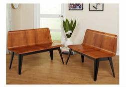 Wooden Kitchen Dining Room Bench Set Of 2 Accent Retro Garde