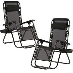 Zero Gravity Chairs Set of 2 with Pillow and Cup Holder Pati